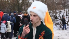 Young ukrainian cossack with tobacco pipe Stock Footage