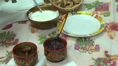 Pancakes With Sour Cream Stock Footage