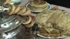 Pancake  With Sour Cream Stock Footage
