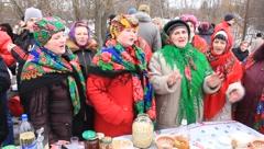 Pancake festival (street festivities). Unique Ukrainian folk song. Stock Footage