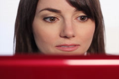 Woman reading laptop. Wide. SD. Stock Footage