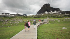 Tourists on Boardwalk in Logan Pass at Glacier National Park Stock Footage