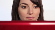 Woman reading laptop. Wide.  Stock Footage