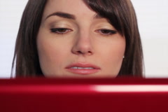 Woman at computer nodding off. SD. Stock Footage