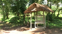 Choeung Ek, The Killing Fields, bones in small house Stock Footage