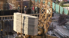 Workers on the construction site Stock Footage