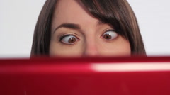 Woman at computer. Crossed eyes.  Stock Footage