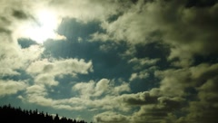 Sunlight flashing through the forest trees and sky with clouds Stock Footage