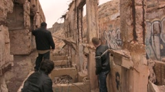 Boy band photoshoot at abandoned building - stock footage