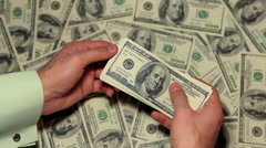 Money Counting, American Dollars, Rich Business Man Earning, US Currency, Bills Stock Footage