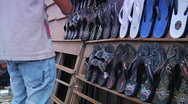 Shoe Vendor in Indonesia Stock Footage