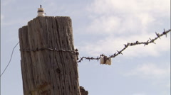 Barb Wire Fence 1 - stock footage