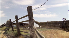 Barb Wire Fence 2 Stock Footage