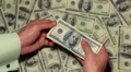 Money Counting, American Dollars, Rich Business Man Earning, US Currency, Bills Footage