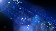 Stock Video Footage of Music Notes Arised through The Blue Light
