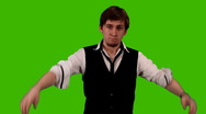 Business Man on Green screen Stock Footage