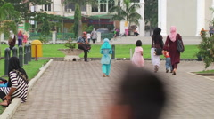Women and Children at Mosque 3 - stock footage
