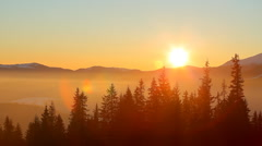 Time lapse sunrise in Carpathian mountains - stock footage