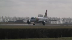 Stock Video Footage of TAP Portugal Airbus A319 takes off