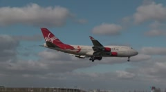 Virgin Atlantic Boeing 747 landing - stock footage