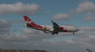 Virgin Atlantic Boeing 747 landing Stock Footage