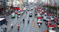 Red Shirts Anti-Government Protest in Bangkok, Thailand, Phetchaburi, 19/02/11 Stock Footage