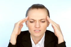 Businesswoman having headache, isolated Stock Footage