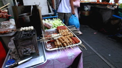 Cooking Meat Ball, Thai Food, Colourful Street Food Life in Bangkok, Thailand Stock Footage