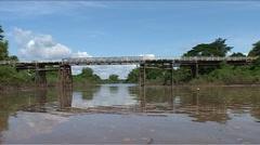 Kratie, Cambodia, Bridge over trouble water Stock Footage