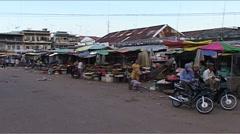 Street market in Kratie, Cambodia Stock Footage