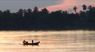 Sunset at the Mekong River, Cambodia Stock Footage