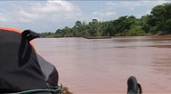 Fast boat on the Mekong river Stock Footage