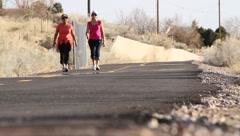 Women walking outdoors Stock Footage