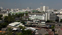 Aerial View of Bangkok, Thailand, Bird Eye View from Wat Saket, Poor Houses, Old Stock Footage