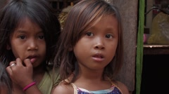 Cambodia: Young girl in poverty. Stock Footage