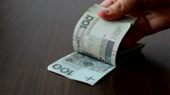 Polish money - stock footage