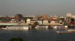 Aerial View of Bangkok, Thailand, Bird Eye View from Wat Arun, Chao Phraya River Stock Footage