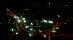 Aerial View Night Evening Elevated Highway Car Passing Busy Asian Street Bangkok Stock Footage