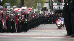 Police Convoy - Firefighter funeral procession Stock Footage