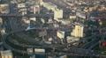 Bangkok Skyline Aerial View Traffic Jam Underpass Interchange Public Transport Footage