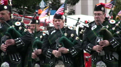 Bagpipe players - Firefighter funeral procession Stock Footage