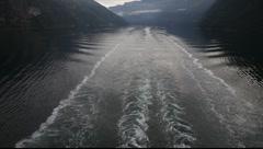 Ship wake. Norwegian fjord Stock Footage