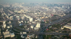 Bird Eye View Bangkok Crowded Crossroad Commuters Commuting Multiple Lanes Road Stock Footage