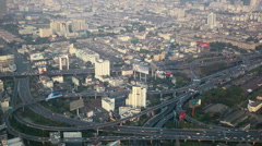 Automobiles Motion Cars Passing Elevated Highway Bangkok Aerial View Commuters - stock footage