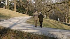 Stock Video Footage of Eldery couple walking in the park