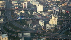 Bangkok Commuters Tourist Cars Passing Modern Busy City People Transit Highway Stock Footage