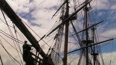 Puerto Rico - Masts of Historic  Pirate Tall Sailing Ship in San Juan Harbor  - stock footage