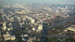 Urban Scene Bangkok Thailand Asia Big Busy City Highway Modern Intersection Day Stock Footage