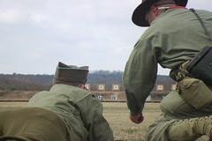 WWII Firing Shooting Range 2 Stock Footage