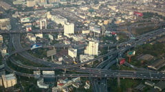 Bangkok Cityscape Bird Eye View OverPass Bridge Motorway Busy Road Intersection Stock Footage
